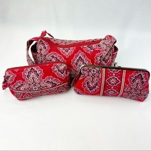 Vera Bradley Red Floral Hobo Pouch Wallet-Set of 3